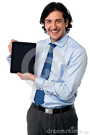 Sales manager displaying newly launched tablet pc