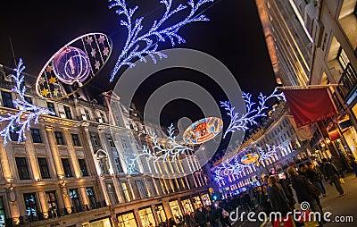 Sales started in London. Regent street in Christmas lights
