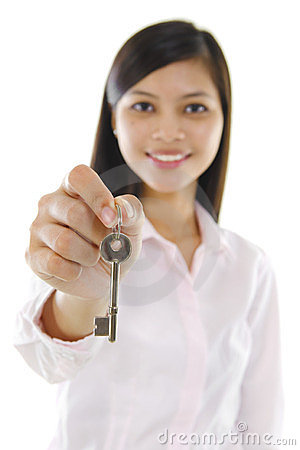 Sales woman with a key