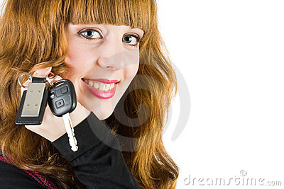 Sales woman offering car keys