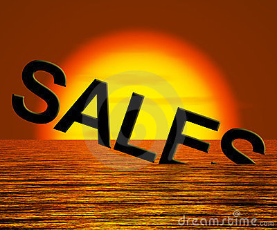 Sales Word Sinking Showing Reduced Income