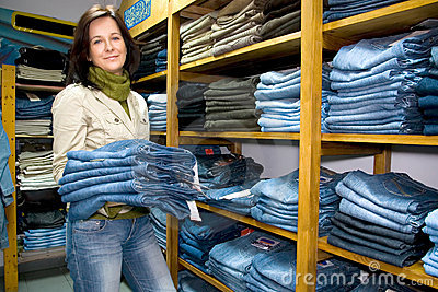 Saleslady jeans shoppar wear