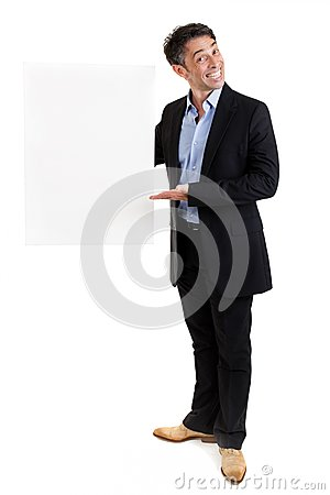 Salesman with a blank placard