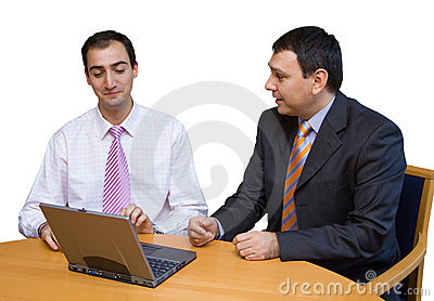 Salesman convincing a tough boss