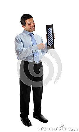 Salesman holding a silk tie