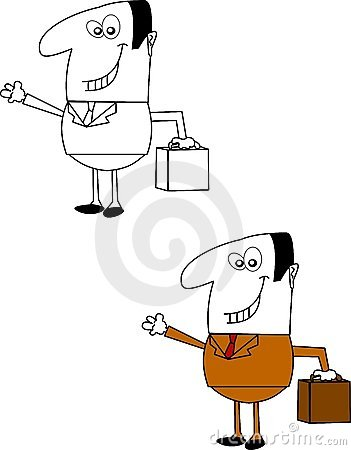 Salesman over white
