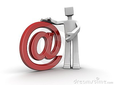 Salesman presenting email hosting services concept