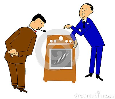 Salesman selling an appliance