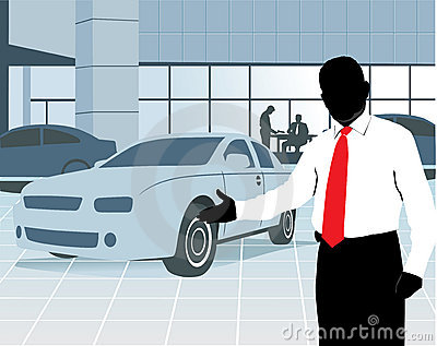 Salesman at showroom
