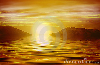 Salida del sol anaranjada sobre el océano