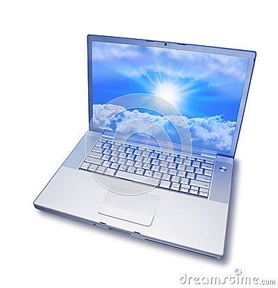 Salida del sol del ordenador portátil