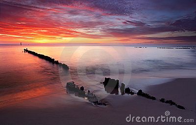 Salida del sol en el océano - Báltico