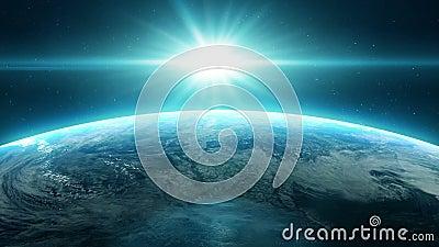 Salida del sol en espacio