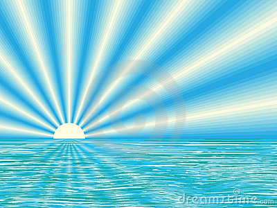 Salida del sol sobre el mar tranquilo