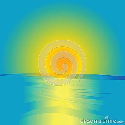 Salida del sol y océano