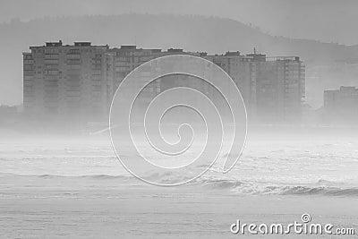 Salinas, Asturias, northern Spain, under the haze