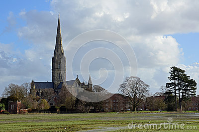 Salisbury Cathedral and Flooded Water Meadows, Wiltshire, England