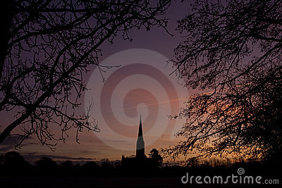 Salisbury cathedral silhouette