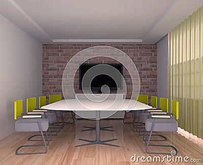 salle de r union avec la tv l 39 int rieur du bureau photo libre de droits image 22432615. Black Bedroom Furniture Sets. Home Design Ideas