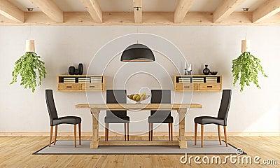 Salle Manger Blanche Avec La Table Rustique Illustration Stock Image 67476211