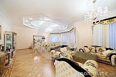 salle manger vivante et avec les meubles de luxe. Black Bedroom Furniture Sets. Home Design Ideas