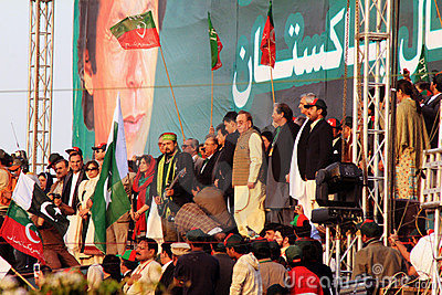 Salman Ahmed plays National Anthem at PTI Rally Editorial Stock Image