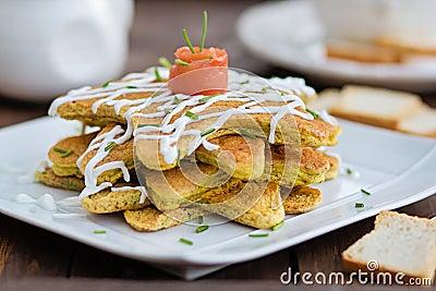 Salmon appetizer pancakes