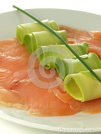 Salmon, avocado, chive