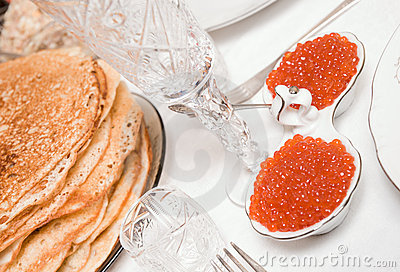 Salmon caviar on restaurant table