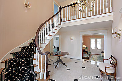 Salmon colored foyer