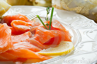 Salmon On Dish Stock Image - Image: 17178201