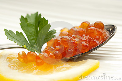 Salmon eggs over the spoon