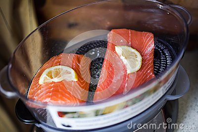 Salmon in electric steamer