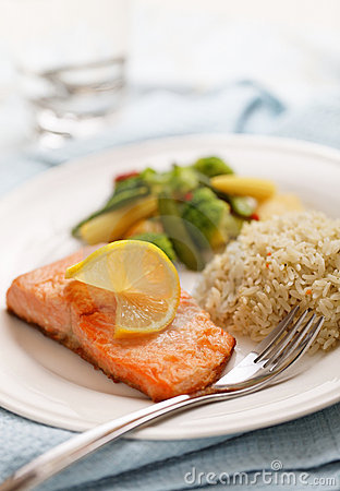 Salmon filet meal