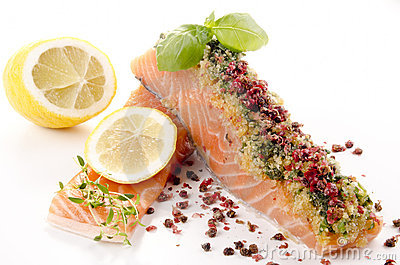 Salmon fillet with a crust