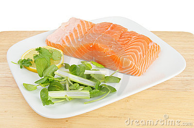 Salmon fillet and garnish