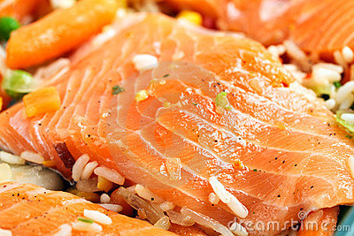 Salmon fillets with garnish