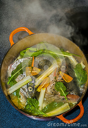 Salmon fish soup stock photo image 49183289 for Iron fish for cooking