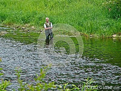 Salmon Fisherman Editorial Stock Photo