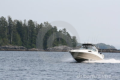 Salmon fishing boat cruising