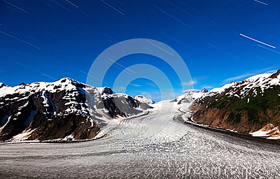 Salmon Glacier and  star trail