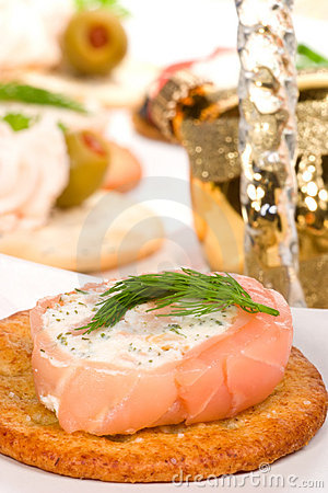 Salmon and goat cheese roll canape
