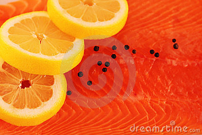 Salmon lemon and pepper background