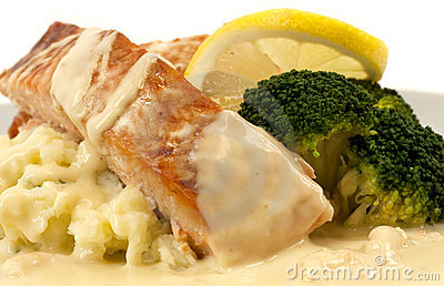 Salmon with mashed potatoes