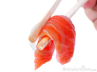 Salmon meat in chopsticks