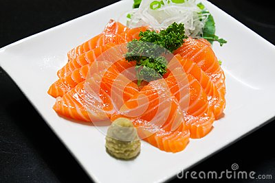 Salmon piece and wasabi