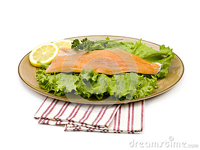 Salmon on a plate with lemons