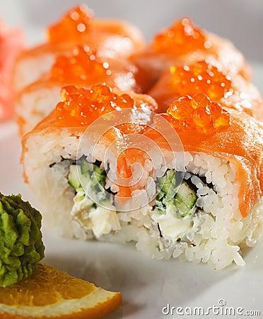 ... and Cucumber inside. Smoked Salmon and Ikura (Salmon Caviar) outside