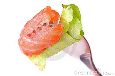 Salmon roll on a fork