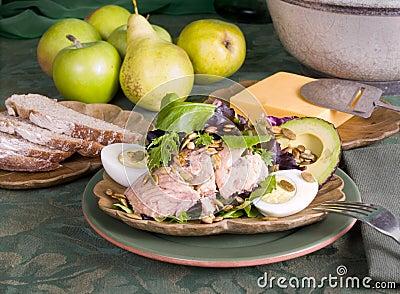 Salmon Salad and Fruit